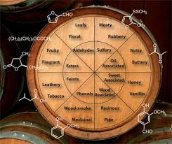 Flavor wheel with chemical formulas